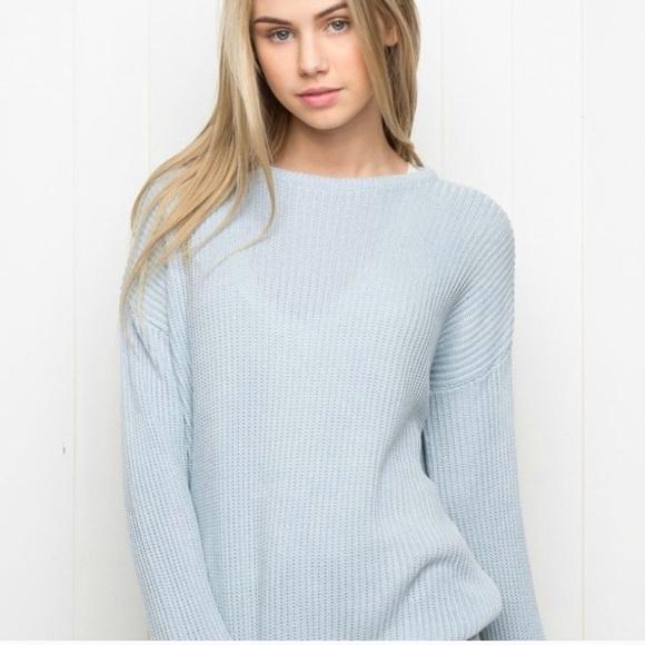 Brandy Melville Sweaters - Brandy Melville baby blue Ollie sweater 75c2cf313
